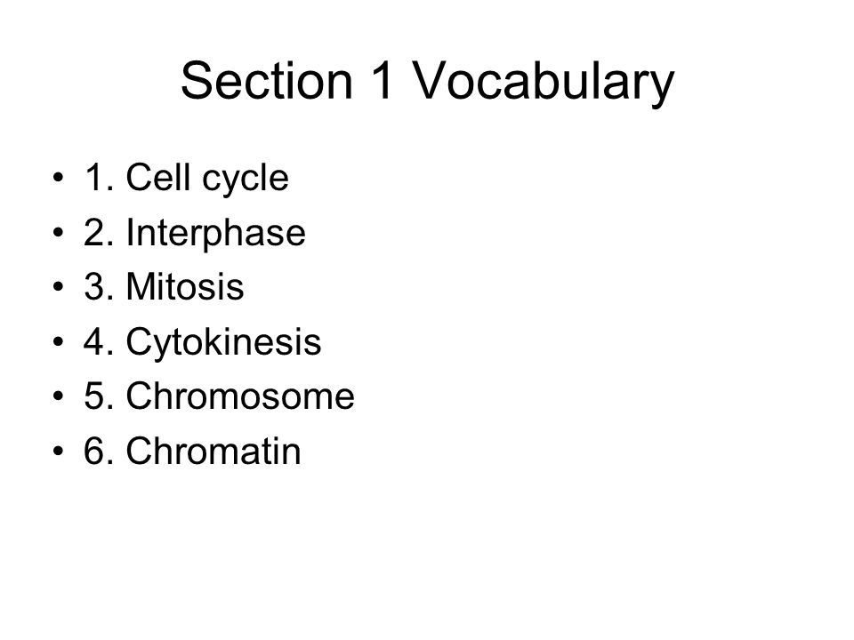 Section 1 Vocabulary 1. Cell cycle 2. Interphase 3. Mitosis 4. Cytokinesis 5. Chromosome 6. Chromatin