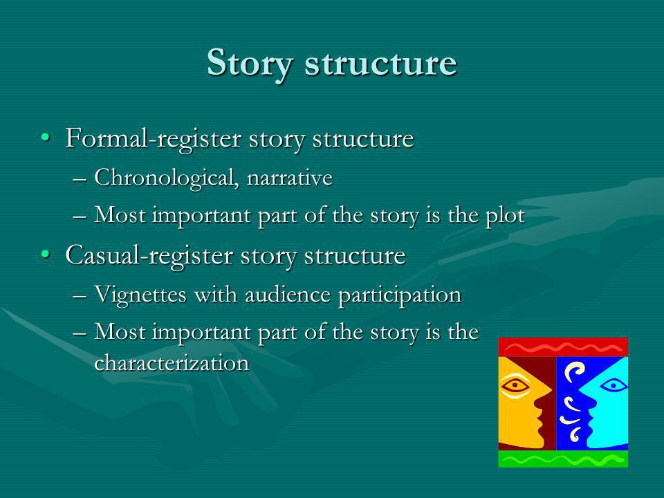 Story structure Formal-register story structureFormal-register story structure –Chronological, narrative –Most important part of the story is the plot