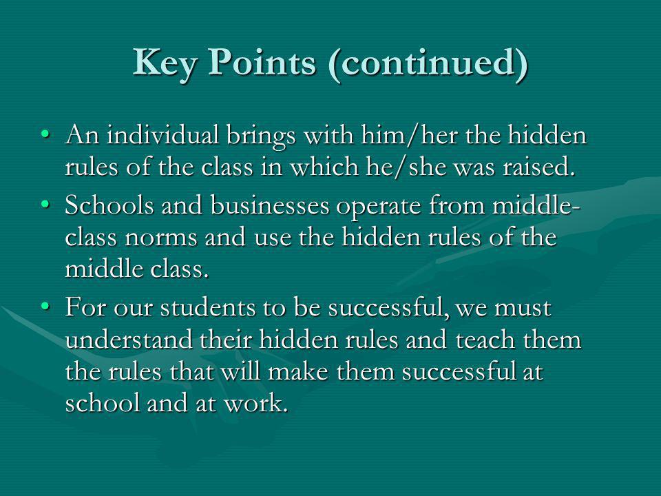 Key Points (continued) An individual brings with him/her the hidden rules of the class in which he/she was raised.An individual brings with him/her th