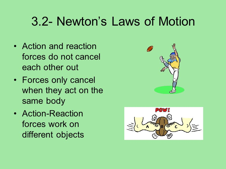 3.2- Newtons Laws of Motion Action and reaction forces do not cancel each other out Forces only cancel when they act on the same body Action-Reaction