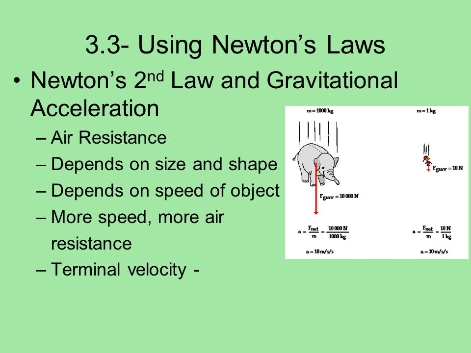 3.3- Using Newtons Laws Newtons 2 nd Law and Gravitational Acceleration –Air Resistance –Depends on size and shape –Depends on speed of object –More s