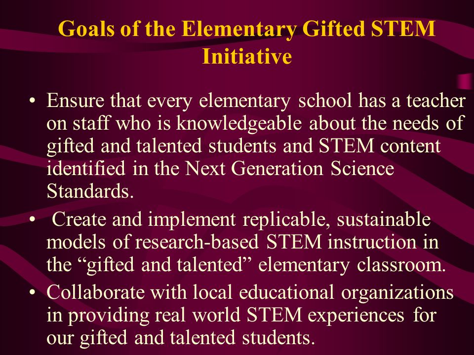 Goals of the Elementary Gifted STEM Initiative Ensure that every elementary school has a teacher on staff who is knowledgeable about the needs of gift