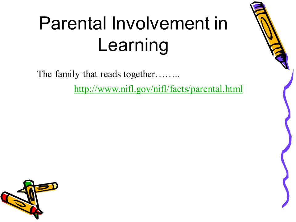 Parental Involvement in Learning http://www.nifl.gov/nifl/facts/parental.html The family that reads together……..