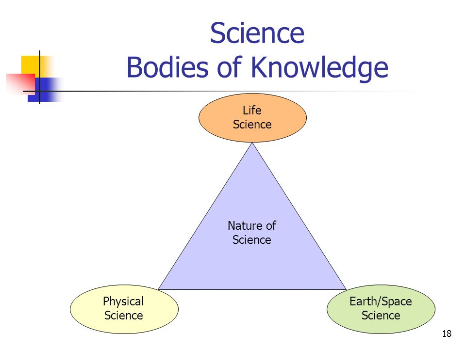 18 Science Bodies of Knowledge Nature of Science Physical Science Life Science Earth/Space Science