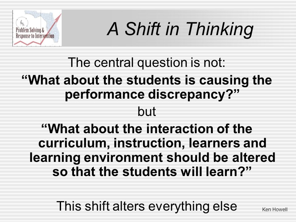 A Shift in Thinking The central question is not: What about the students is causing the performance discrepancy? but What about the interaction of the