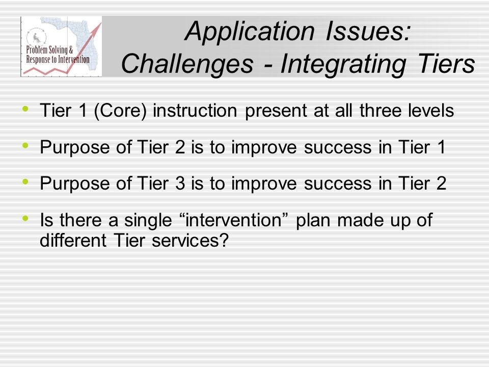 Application Issues: Challenges - Integrating Tiers Tier 1 (Core) instruction present at all three levels Purpose of Tier 2 is to improve success in Ti