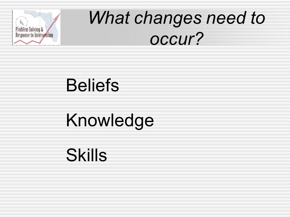 What changes need to occur? Beliefs Knowledge Skills