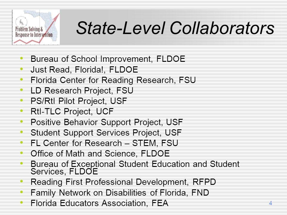 State-Level Collaborators Bureau of School Improvement, FLDOE Just Read, Florida!, FLDOE Florida Center for Reading Research, FSU LD Research Project,