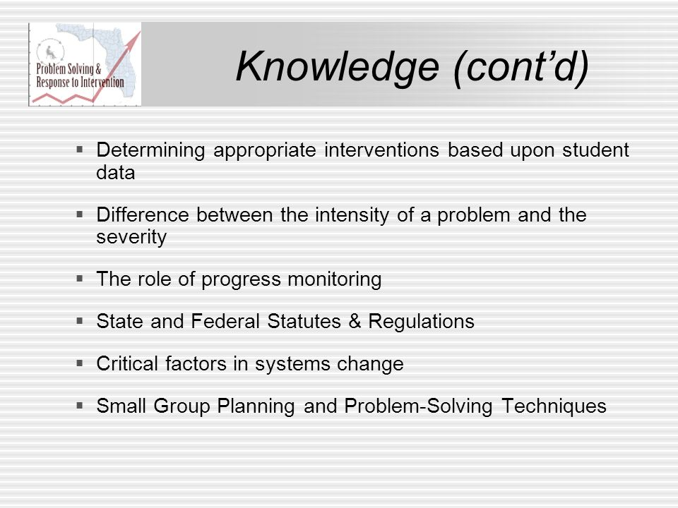Knowledge (contd) Determining appropriate interventions based upon student data Difference between the intensity of a problem and the severity The rol