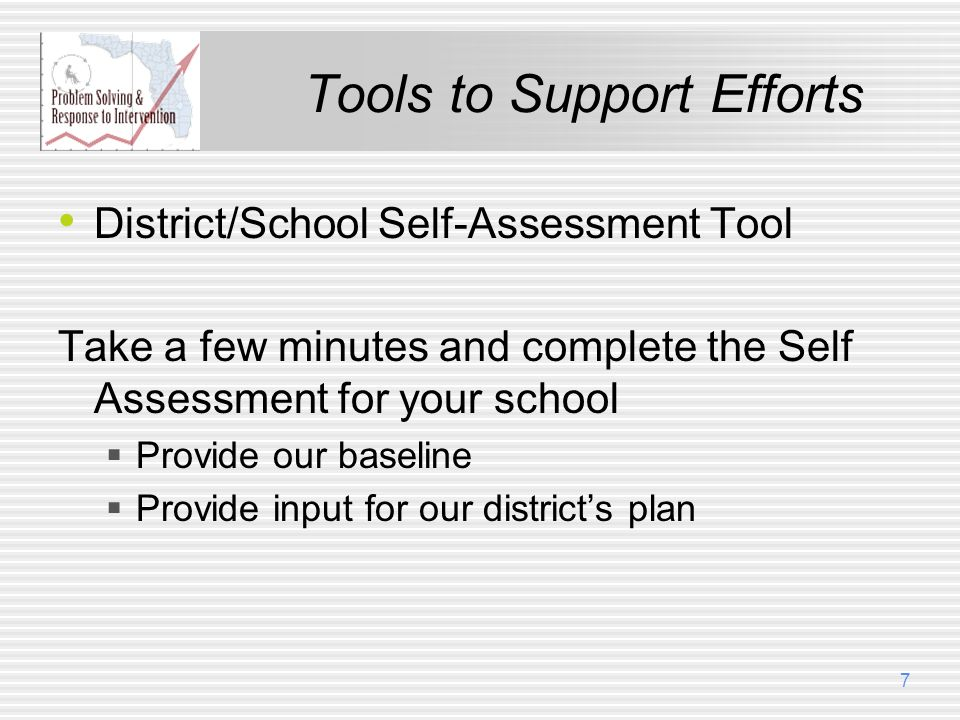 Tools to Support Efforts District/School Self-Assessment Tool Take a few minutes and complete the Self Assessment for your school Provide our baseline