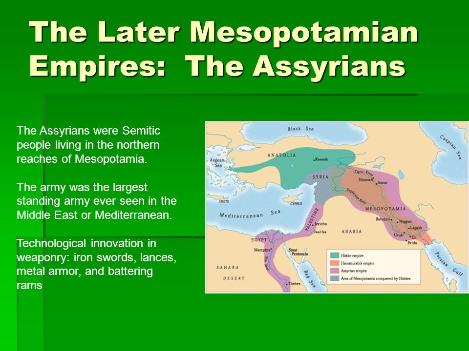 The Later Mesopotamian Empires: The Assyrians The Assyrians were Semitic people living in the northern reaches of Mesopotamia. The army was the larges