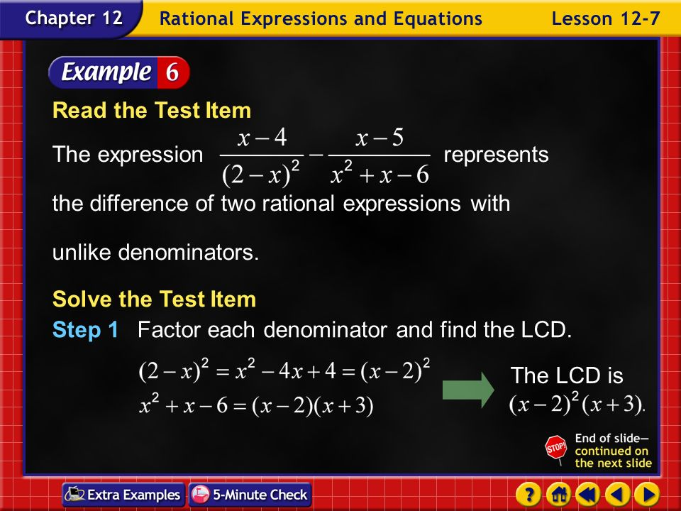 Example 7-6a Multiple-Choice Test Item Find A B C D