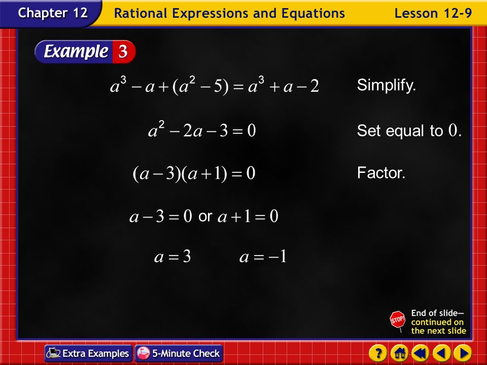 Example 9-3a Solve Distributive Property Original equation The LCD is