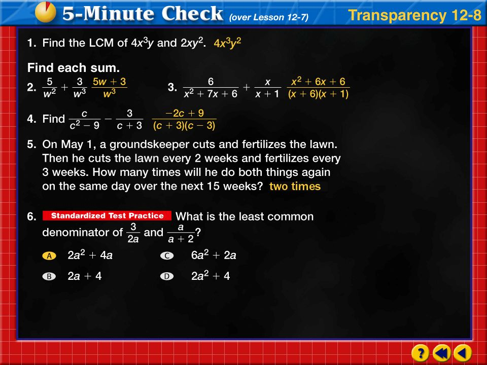 Transparency 8 Click the mouse button or press the Space Bar to display the answers.