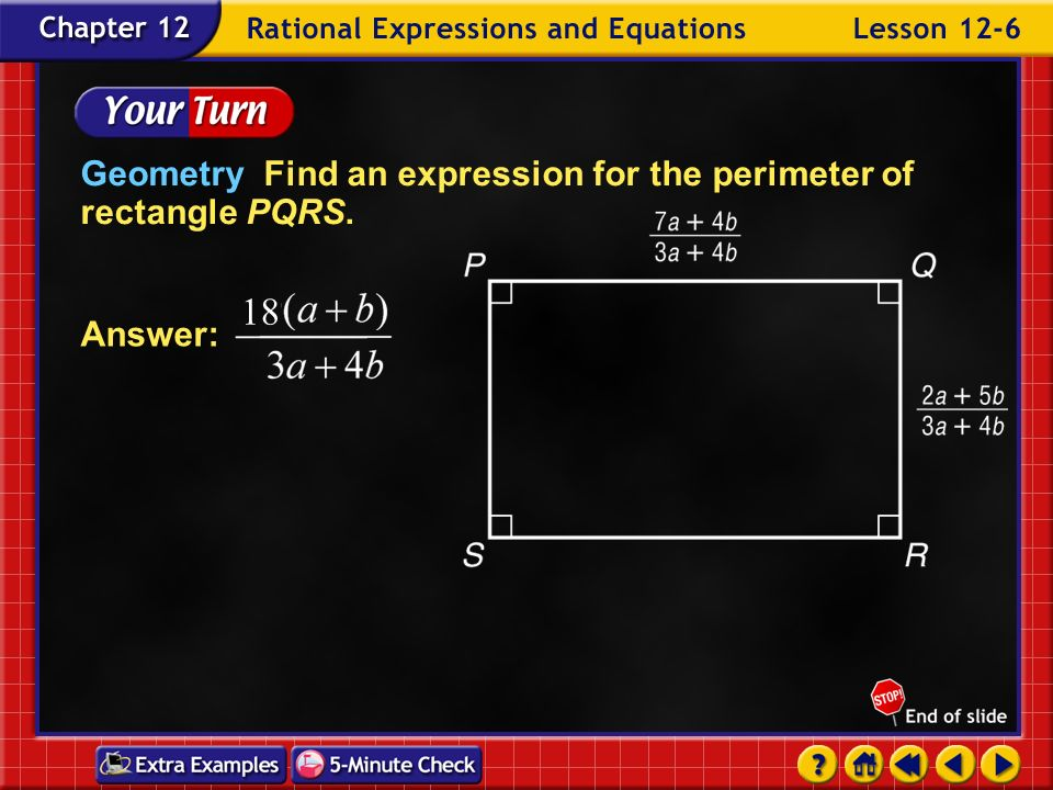 Example 6-3c Answer:The perimeter can be represented by the expression