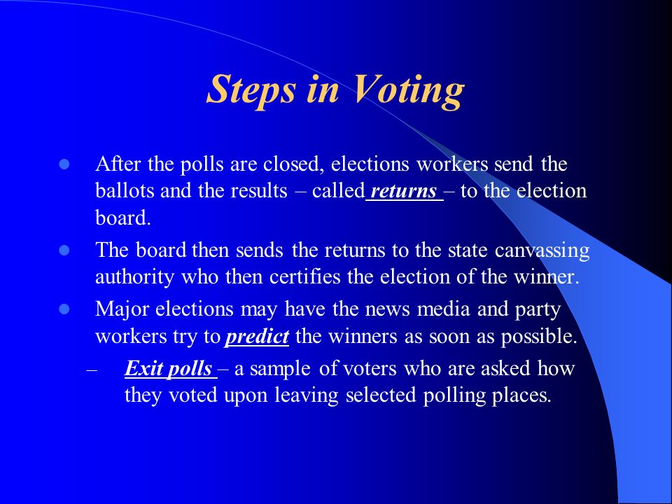 Steps in Voting After the polls are closed, elections workers send the ballots and the results – called returns – to the election board. The board the