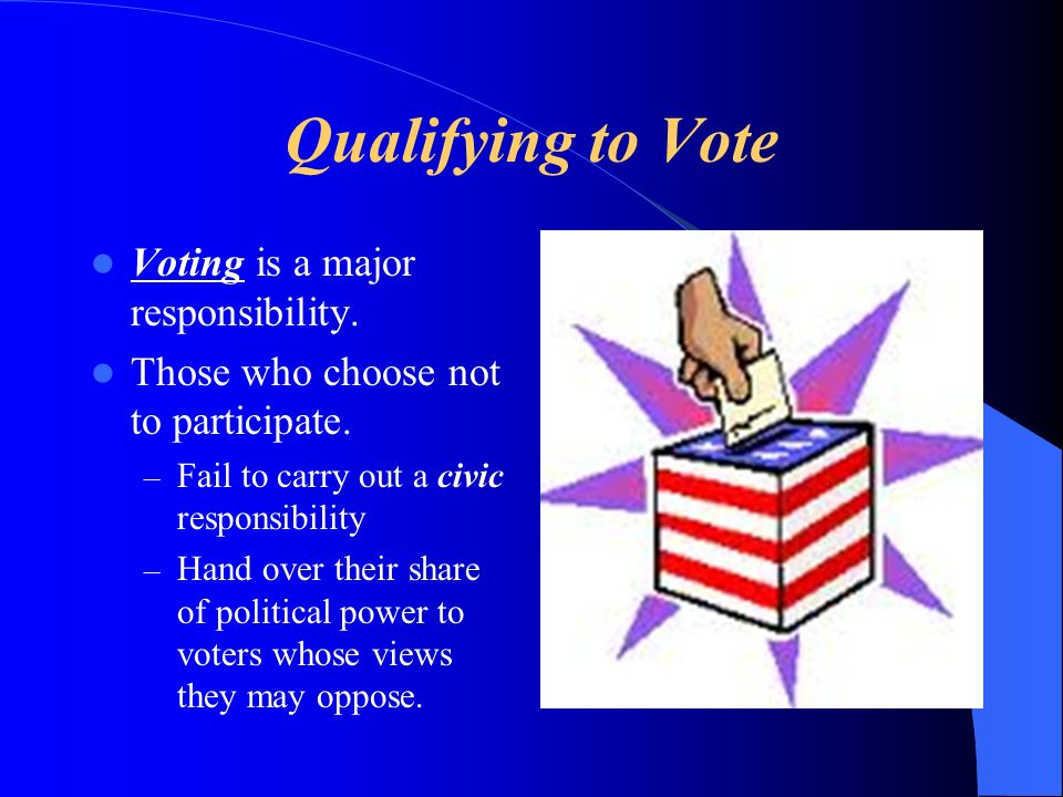 Qualifying to Vote During our nations early years, most voters were white, adult property owning males.