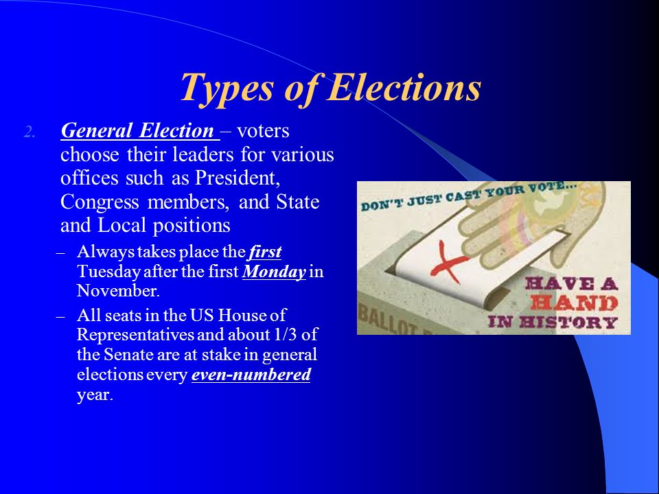 Types of Elections 2. General Election – voters choose their leaders for various offices such as President, Congress members, and State and Local posi