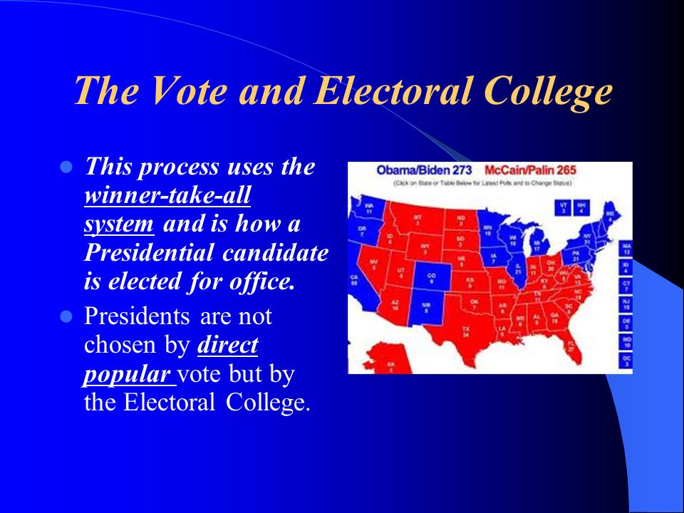 The Vote and Electoral College This process uses the winner-take-all system and is how a Presidential candidate is elected for office. Presidents are