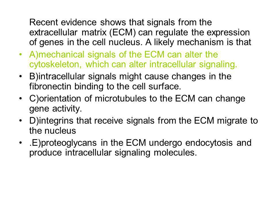 Recent evidence shows that signals from the extracellular matrix (ECM) can regulate the expression of genes in the cell nucleus. A likely mechanism is