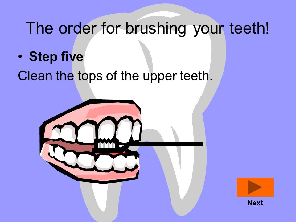 The order for brushing your teeth! Step four Clean the insides of the lower teeth. Next