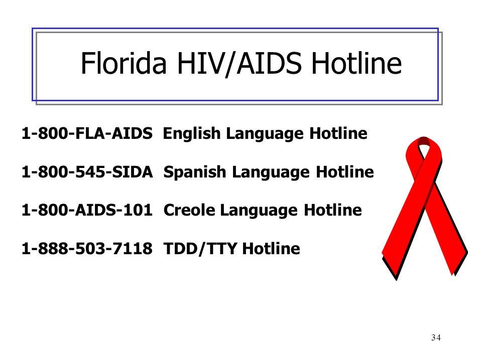 34 Florida HIV/AIDS Hotline 1-800-FLA-AIDS English Language Hotline 1-800-545-SIDA Spanish Language Hotline 1-800-AIDS-101 Creole Language Hotline 1-8