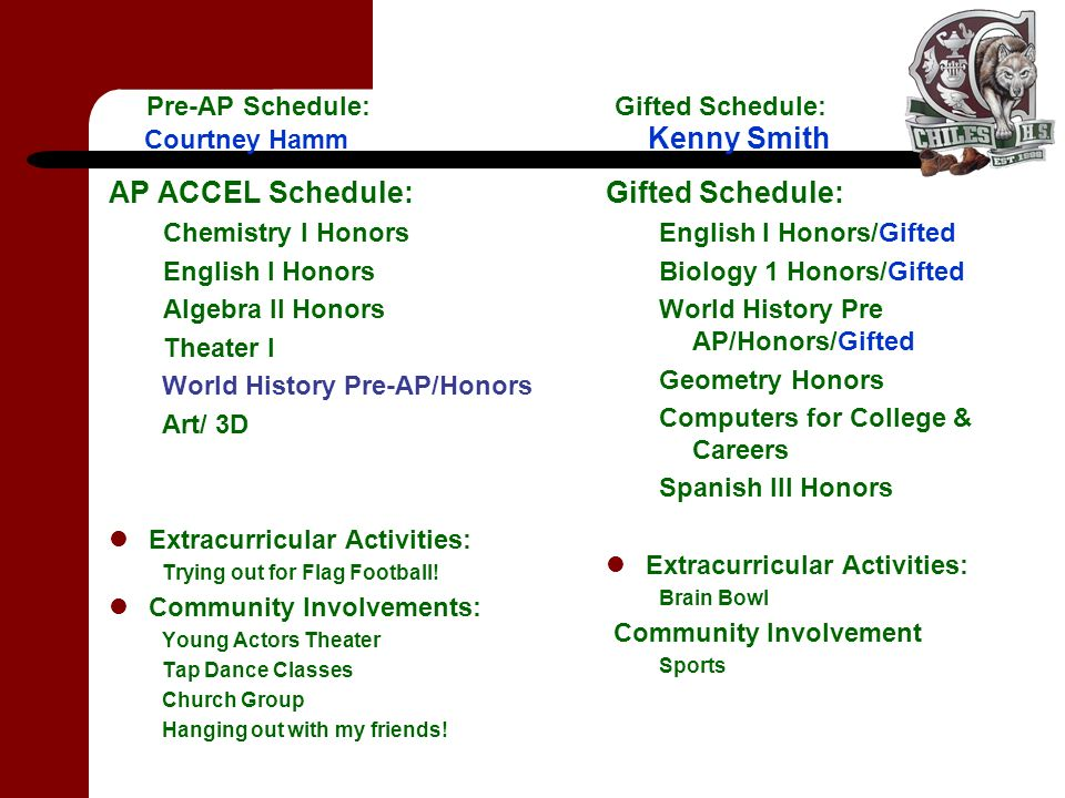 Pre-AP Schedule: Gifted Schedule: Courtney Hamm Kenny Smith AP ACCEL Schedule: Chemistry I Honors English I Honors Algebra II Honors Theater I World History Pre-AP/Honors Art/ 3D Extracurricular Activities: Trying out for Flag Football.