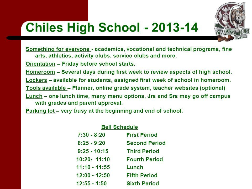 Chiles High School - 2013-14 Something for everyone - academics, vocational and technical programs, fine arts, athletics, activity clubs, service clubs and more.