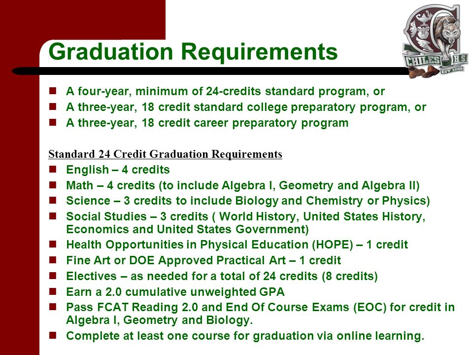 Graduation Requirements A four-year, minimum of 24-credits standard program, or A three-year, 18 credit standard college preparatory program, or A three-year, 18 credit career preparatory program Standard 24 Credit Graduation Requirements English – 4 credits Math – 4 credits (to include Algebra I, Geometry and Algebra II) Science – 3 credits to include Biology and Chemistry or Physics) Social Studies – 3 credits ( World History, United States History, Economics and United States Government) Health Opportunities in Physical Education (HOPE) – 1 credit Fine Art or DOE Approved Practical Art – 1 credit Electives – as needed for a total of 24 credits (8 credits) Earn a 2.0 cumulative unweighted GPA Pass FCAT Reading 2.0 and End Of Course Exams (EOC) for credit in Algebra I, Geometry and Biology.