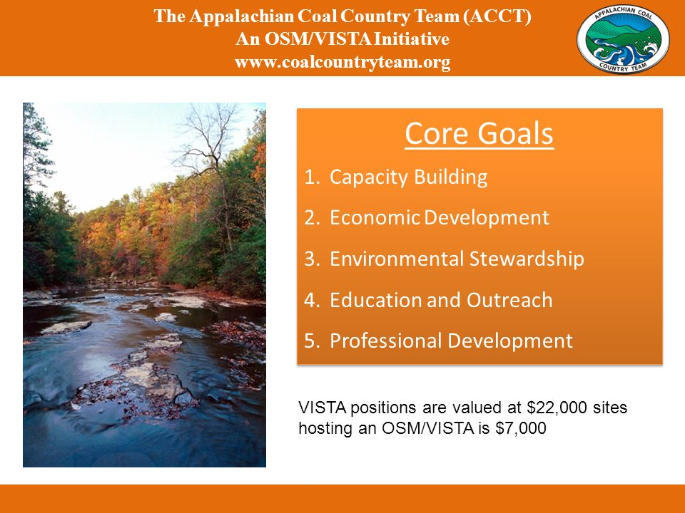Core Goals 1.Capacity Building 2.Economic Development 3.Environmental Stewardship 4.Education and Outreach 5.Professional Development Core Goals 1.Capacity Building 2.Economic Development 3.Environmental Stewardship 4.Education and Outreach 5.Professional Development The Appalachian Coal Country Team (ACCT) An OSM/VISTA Initiative www.coalcountryteam.org VISTA positions are valued at $22,000 sites hosting an OSM/VISTA is $7,000