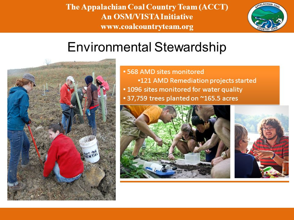 Environmental Stewardship The Appalachian Coal Country Team (ACCT) An OSM/VISTA Initiative www.coalcountryteam.org 568 AMD sites monitored 121 AMD Remediation projects started 1096 sites monitored for water quality 37,759 trees planted on ~165.5 acres 568 AMD sites monitored 121 AMD Remediation projects started 1096 sites monitored for water quality 37,759 trees planted on ~165.5 acres