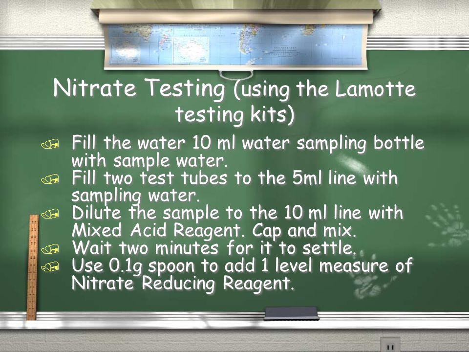 Nitrate Testing (using the Lamotte testing kits) / Fill the water 10 ml water sampling bottle with sample water.