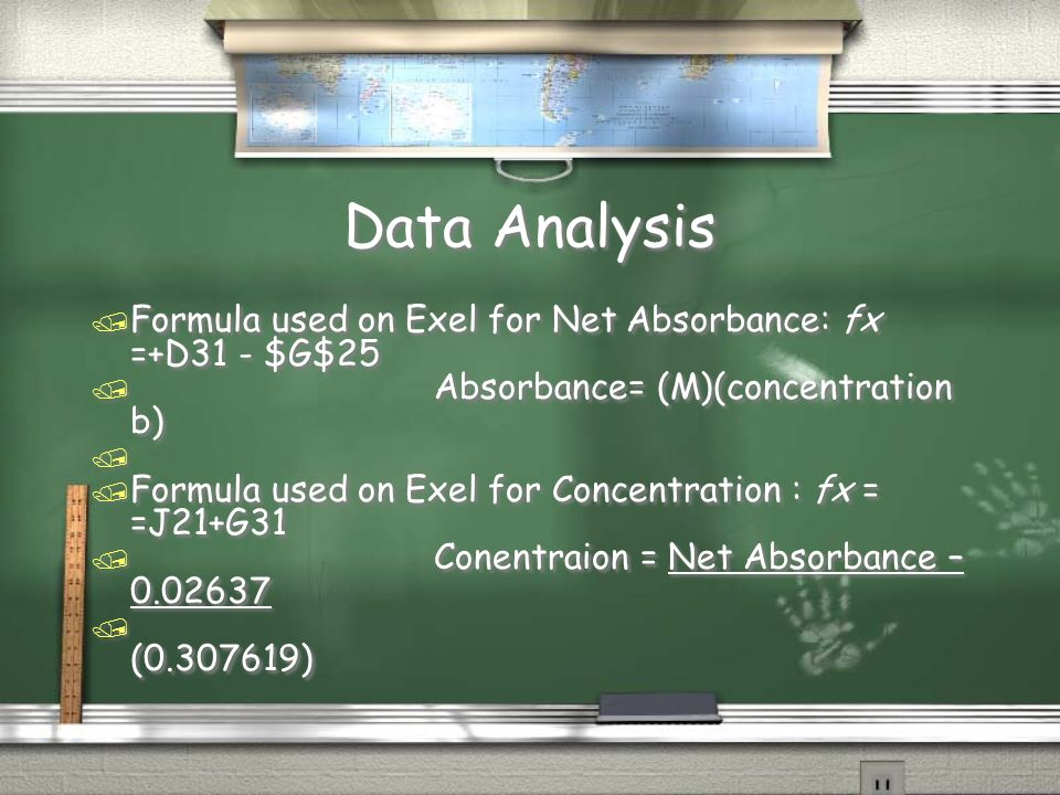 Data Analysis / Formula used on Exel for Net Absorbance: fx =+D31 - $G$25 / Absorbance= (M)(concentration b) / / Formula used on Exel for Concentration : fx = =J21+G31 / Conentraion = Net Absorbance – 0.02637 / (0.307619) / Formula used on Exel for Net Absorbance: fx =+D31 - $G$25 / Absorbance= (M)(concentration b) / / Formula used on Exel for Concentration : fx = =J21+G31 / Conentraion = Net Absorbance – 0.02637 / (0.307619)