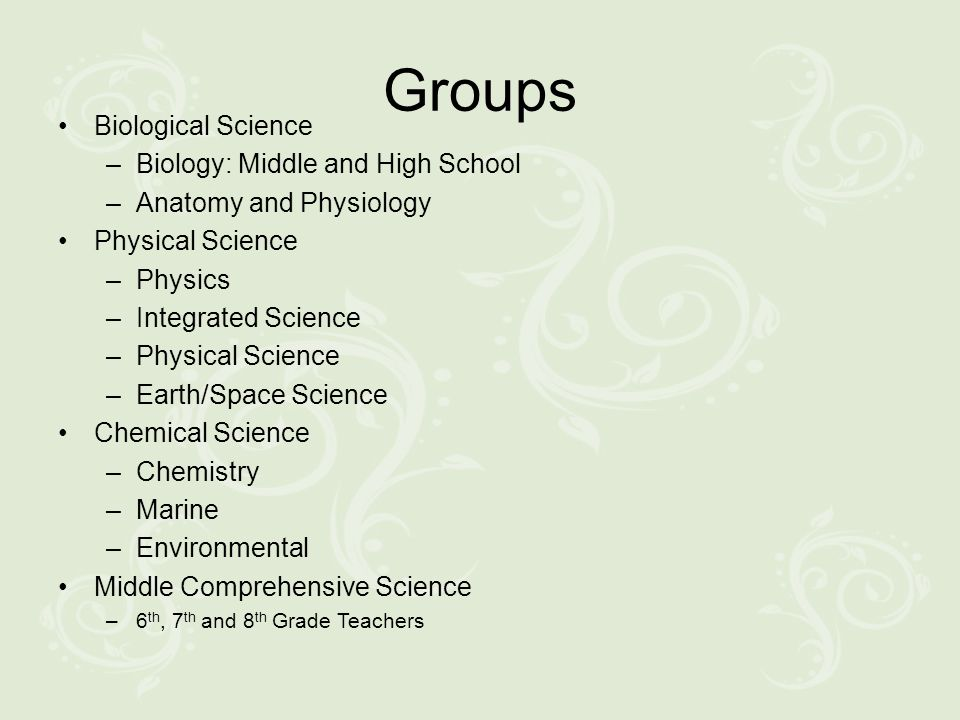 Groups Biological Science –Biology: Middle and High School –Anatomy and Physiology Physical Science –Physics –Integrated Science –Physical Science –Ea