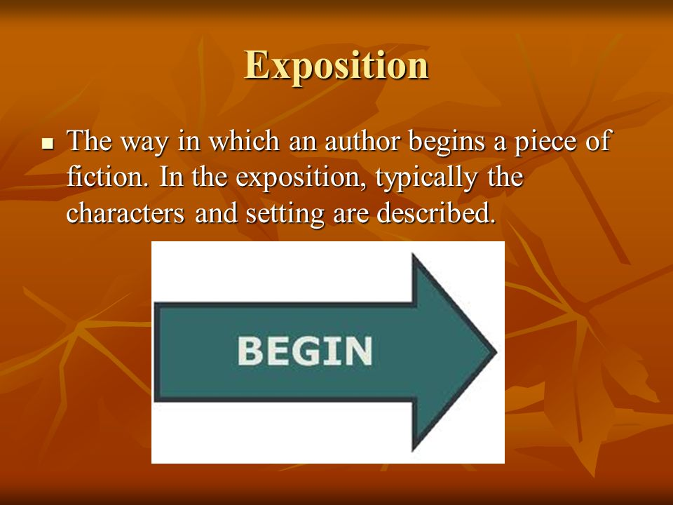 Exposition The way in which an author begins a piece of fiction. In the exposition, typically the characters and setting are described. The way in whi