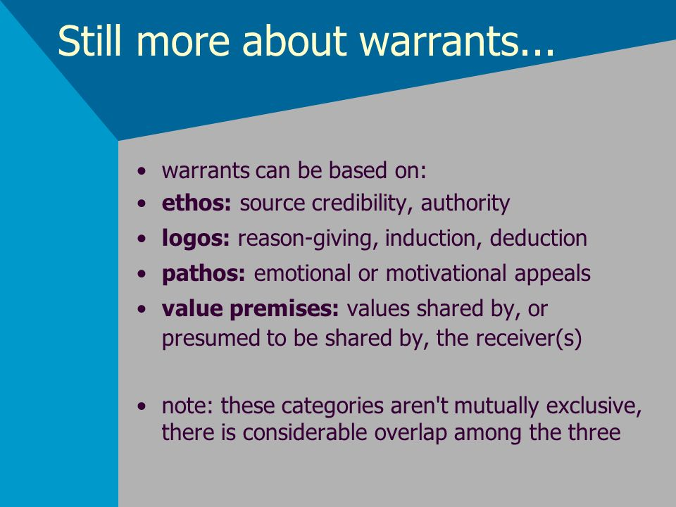 Still more about warrants... warrants can be based on: ethos: source credibility, authority logos: reason-giving, induction, deduction pathos: emotion
