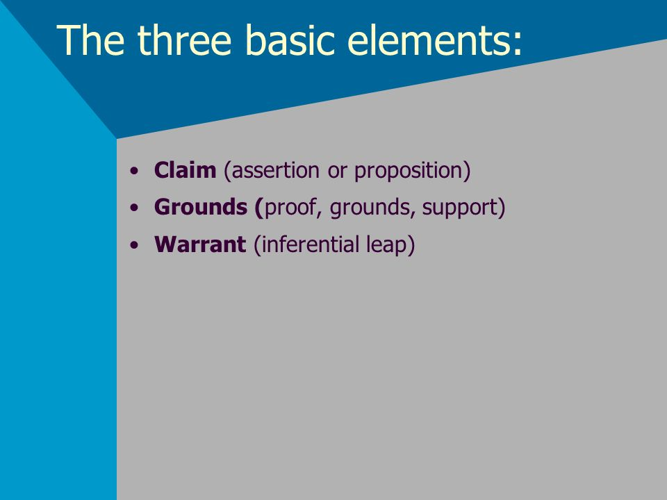 The three basic elements: Claim (assertion or proposition) Grounds (proof, grounds, support) Warrant (inferential leap)