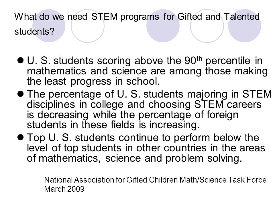 What do we need STEM programs for Gifted and Talented students? U. S. students scoring above the 90 th percentile in mathematics and science are among