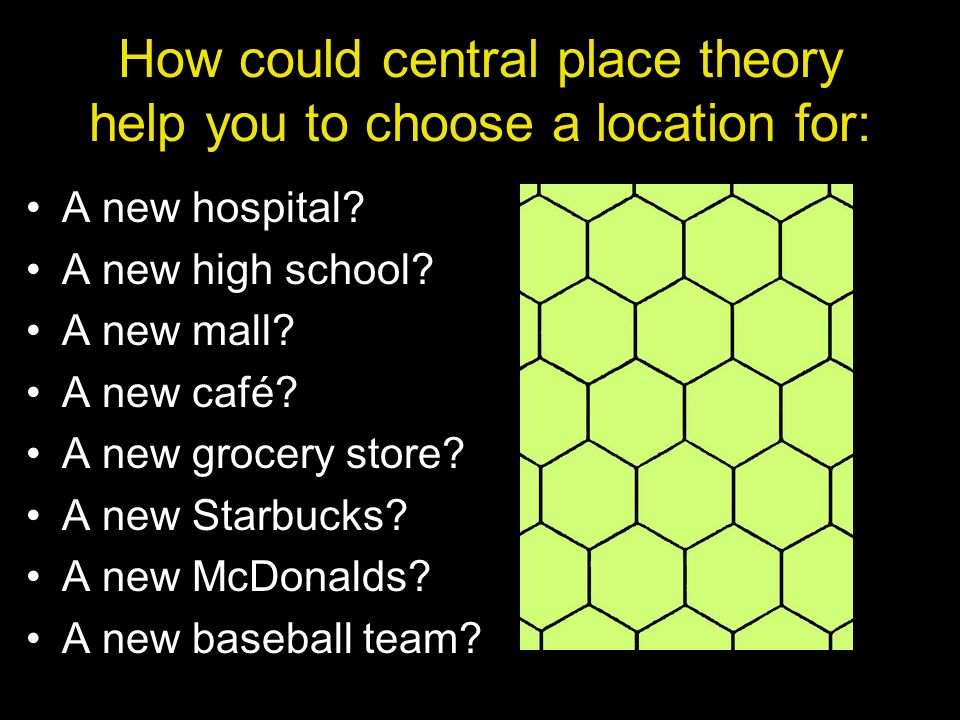 How could central place theory help you to choose a location for: A new hospital? A new high school? A new mall? A new café? A new grocery store? A ne