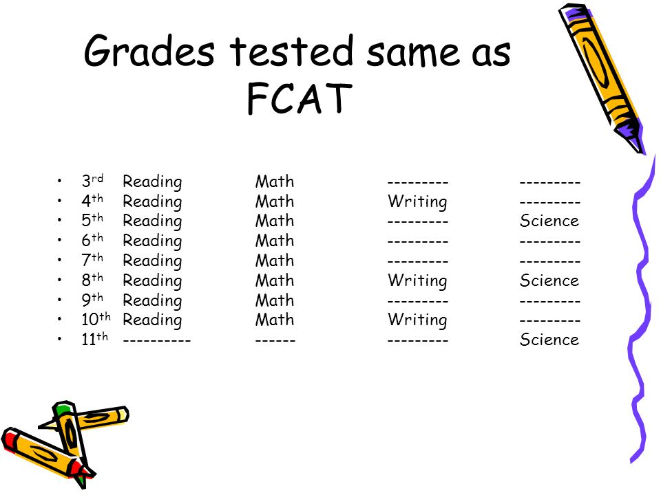 Grades tested same as FCAT 3 rd ReadingMath------------------ 4 th ReadingMathWriting--------- 5 th ReadingMath---------Science 6 th ReadingMath------------------ 7 th ReadingMath------------------ 8 th ReadingMathWritingScience 9 th ReadingMath------------------ 10 th ReadingMathWriting--------- 11 th -------------------------Science