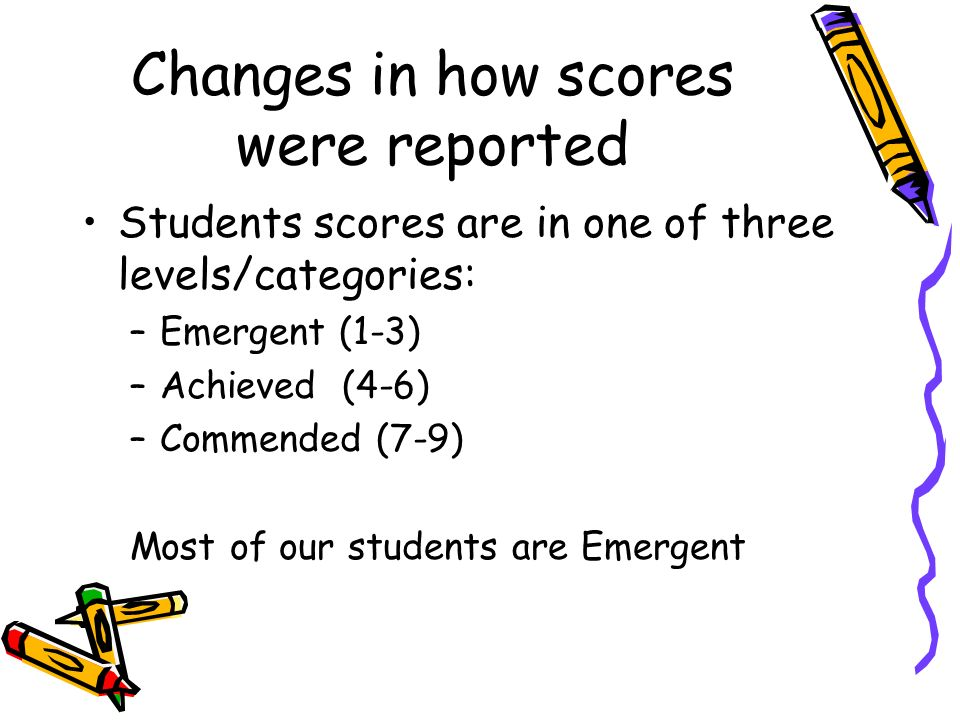 Changes in how scores were reported Students scores are in one of three levels/categories: –Emergent (1-3) –Achieved (4-6) –Commended (7-9) Most of our students are Emergent