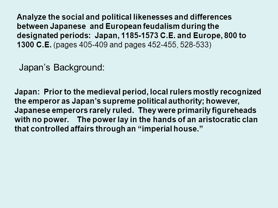 Analyze the social and political likenesses and differences between Japanese and European feudalism during the designated periods: Japan, 1185-1573 C.