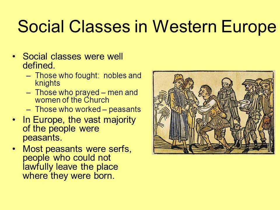 Social Classes in Western Europe Social classes were well defined.