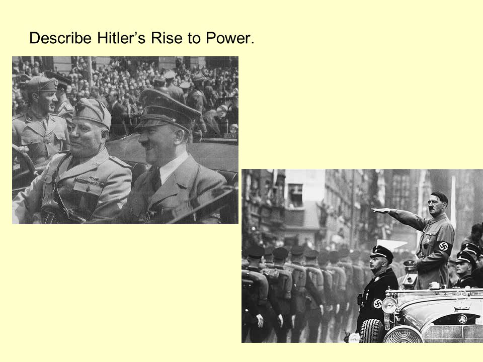 Describe Hitlers Rise to Power.
