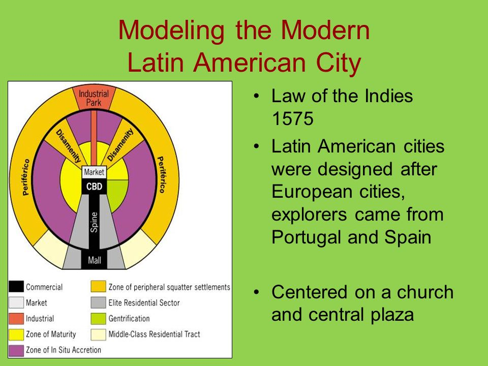 Modeling the Modern Latin American City Law of the Indies 1575 Latin American cities were designed after European cities, explorers came from Portugal