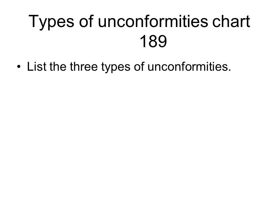 Types of unconformities chart 189 List the three types of unconformities.