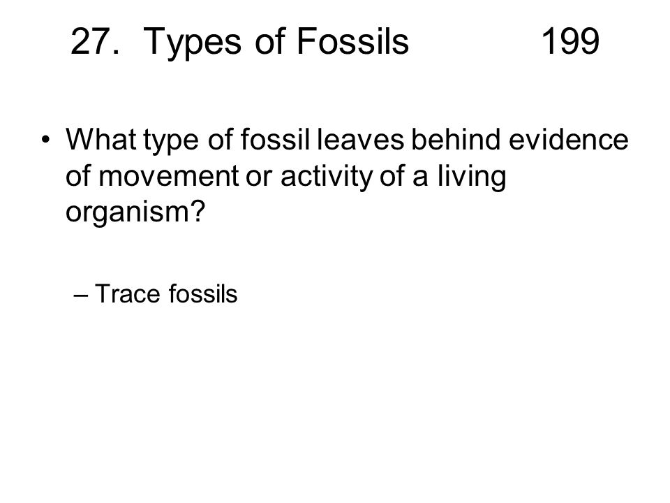 27. Types of Fossils199 What type of fossil leaves behind evidence of movement or activity of a living organism? –Trace fossils