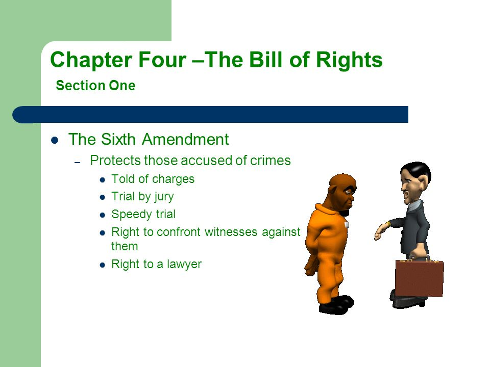 The Sixth Amendment –P–Protects those accused of crimes Told of charges Trial by jury Speedy trial Right to confront witnesses against them Right to a