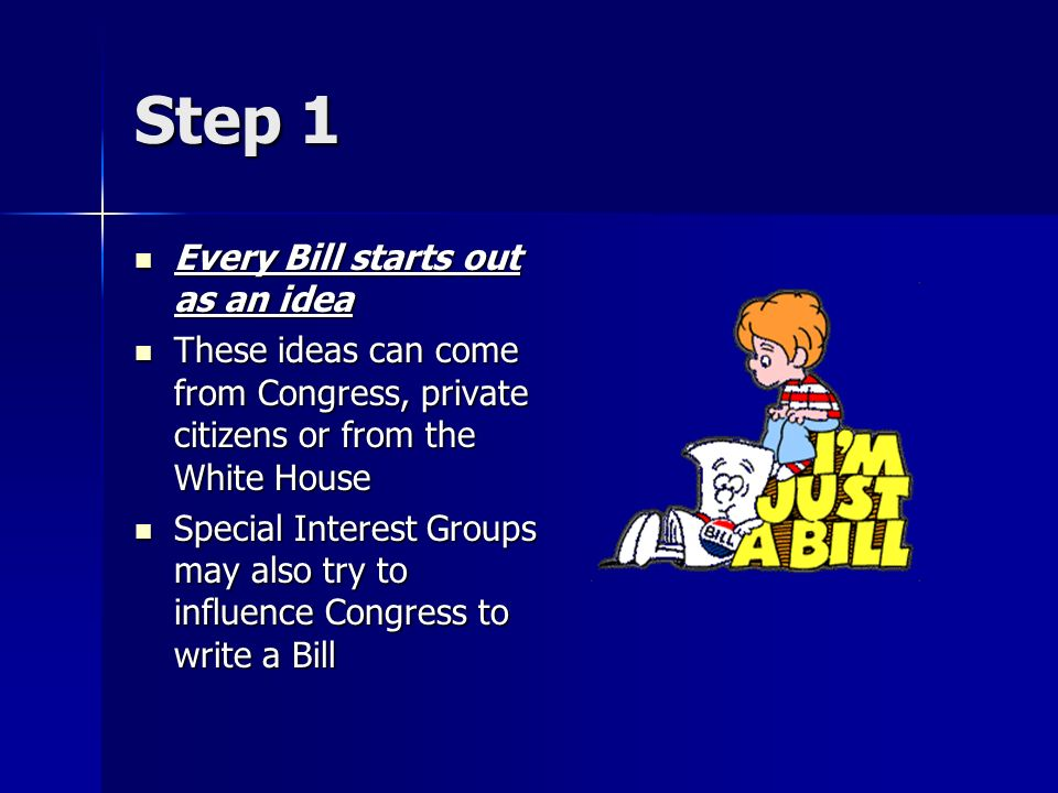Step 1 Every Bill starts out as an idea Every Bill starts out as an idea These ideas can come from Congress, private citizens or from the White House