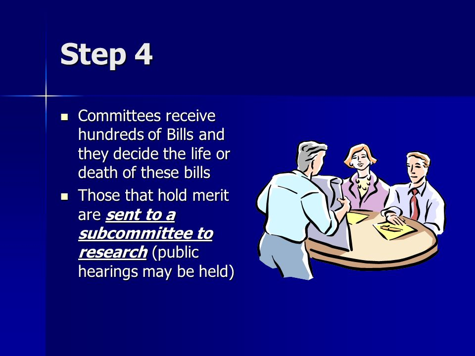 Step 4 Committees receive hundreds of Bills and they decide the life or death of these bills Committees receive hundreds of Bills and they decide the